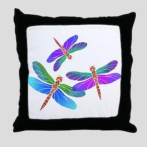 Dive Bombing Dragonflies Throw Pillow