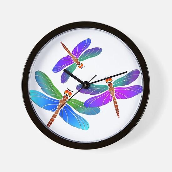 Dive Bombing Dragonflies Wall Clock
