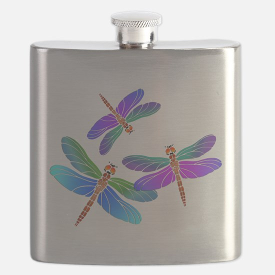 Dive Bombing Dragonflies Flask