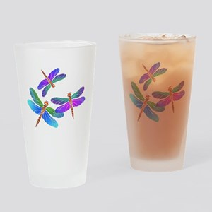 Dive Bombing Dragonflies Drinking Glass