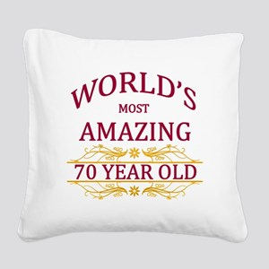 70th. Birthday Square Canvas Pillow