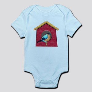 Bluebird on Barn Red House Body Suit