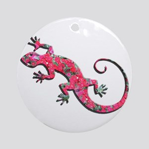 Pink Rose Gecko Ornament (Round)