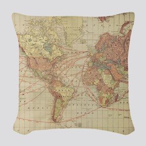 Vintage world map Woven Throw Pillow