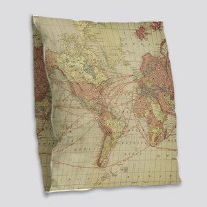 Vintage world map Burlap Throw Pillow