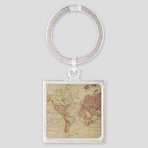 Vintage world map Square Keychain