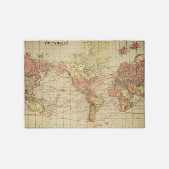 Vintage World Map 5 X7 Area Rug