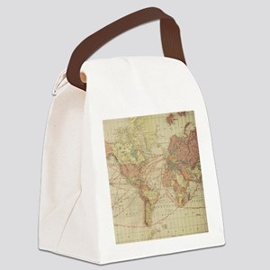 Vintage world map Canvas Lunch Bag