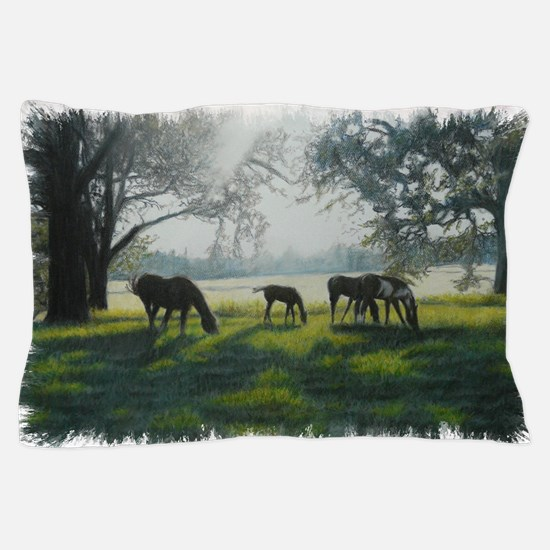 Grazing Horses Pillow Case