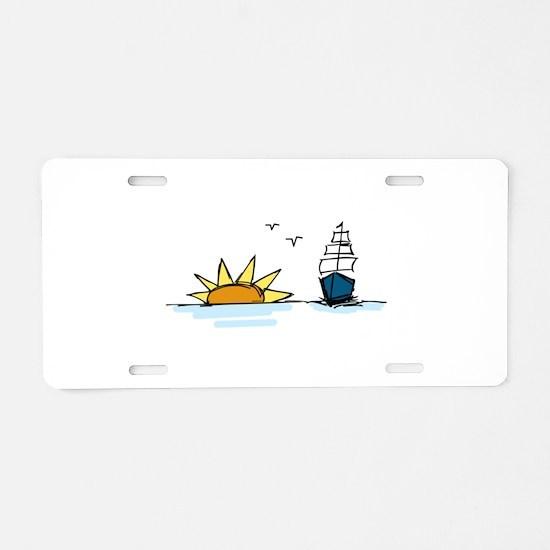 Sunrise Sailboat Aluminum License Plate