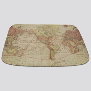Vintage world map Bathmat