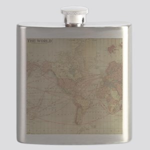 Vintage world map Flask