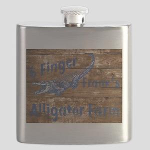 6 finger frank Alligator farm wood sign Flask