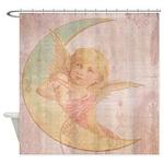 Vintage Angel Moon Old Script Shower Curtain