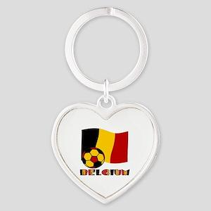 Belgium Soccer Ball and Flag Heart Keychain