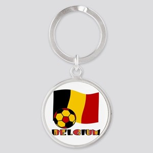 Belgium Soccer Ball and Flag Round Keychain