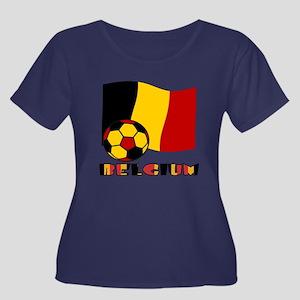 Belgium  Women's Plus Size Scoop Neck Dark T-Shirt