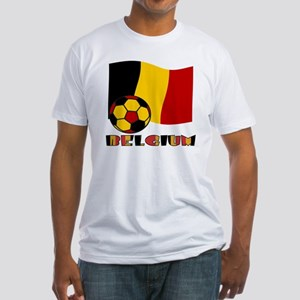 Belgium Soccer Ball and Flag Fitted T-Shirt