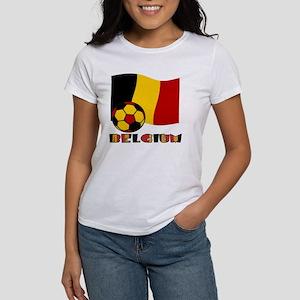 Belgium Soccer Ball and Flag Women's T-Shirt