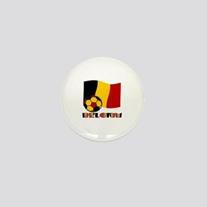 Belgium Soccer Ball and Flag Mini Button