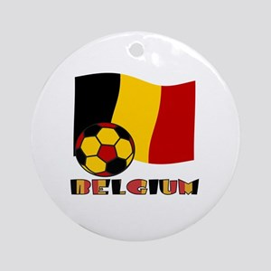 Belgium Soccer Ball and Flag Round Ornament