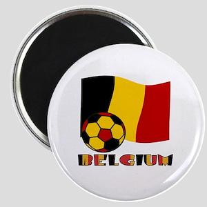 Belgium Soccer Ball and Flag Magnet