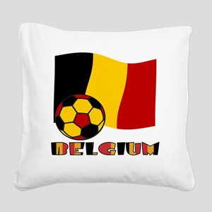 Belgium Soccer Ball and Flag Square Canvas Pillow