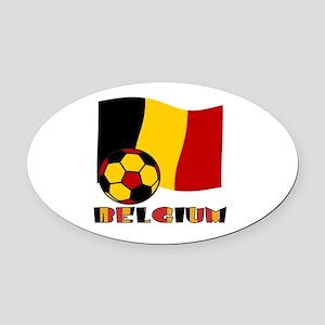 Belgium Soccer Ball and Flag Oval Car Magnet