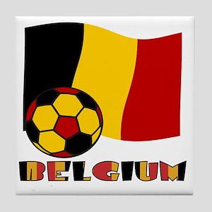 Belgium Soccer Ball and Flag Tile Coaster