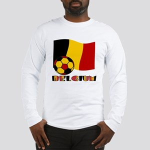 Belgium Soccer Ball and Flag Long Sleeve T-Shirt