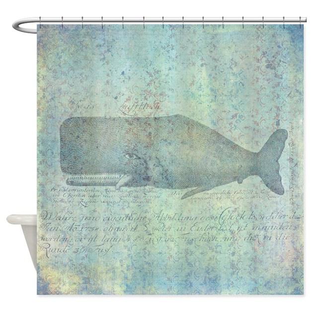 Nautical Bathroom Decor On Sale: Vintage Whale Illustration Nautical Shower Curtain By