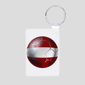 Latvia Football Aluminum Photo Keychain
