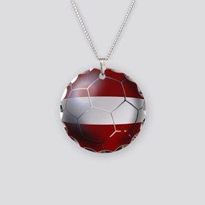 Latvia Football Necklace Circle Charm
