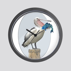 Open Beaked Pelican with Fish Wall Clock