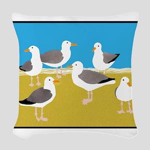 Gang of Seagulls Woven Throw Pillow