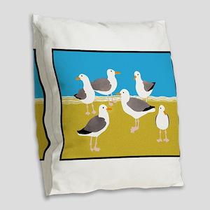 Gang of Seagulls Burlap Throw Pillow