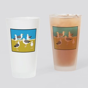 Gang of Seagulls Drinking Glass