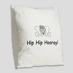 Hip Hip Hooray Burlap Throw Pillow