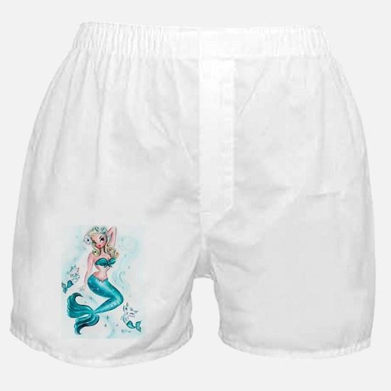 Pin Up Mermaid with Mermaid Kitties Boxer Shorts
