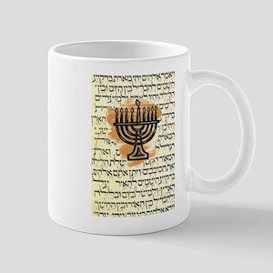 HANKAH MENORAH WITH HEBREW Mugs