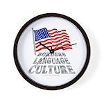 Borders Language Culture Wall Clock