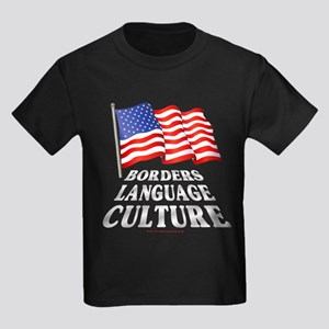 Borders Language Culture Kids Dark T-Shirt