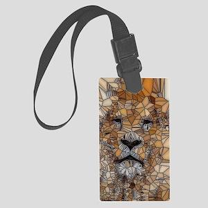 Lion mosaic 001 Large Luggage Tag