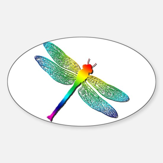 Rainbow Dragonfly Sticker (Oval)
