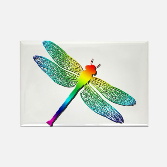 Rainbow Dragonfly Rectangle Magnet