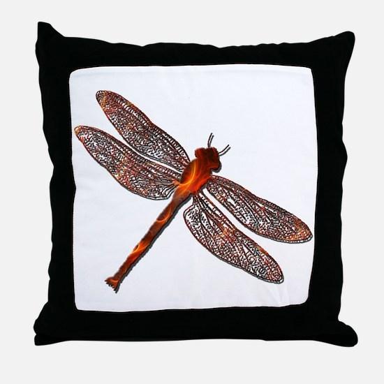 Fire Dragonfly Throw Pillow