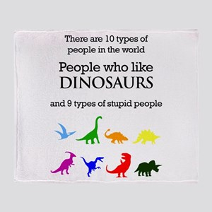 Ten Types Of People (Dinosaurs) Throw Blanket
