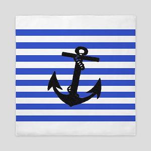 Black Anchor of Blue Stripes Art Queen Duvet