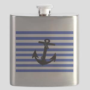 Black Anchor of Blue Stripes Art Flask