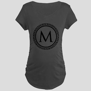 Greek Key Black and White M Maternity Dark T-Shirt